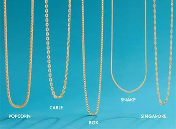 Виды плетения золотых цепочек: характеристики, виды, отличия